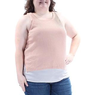 Womens Pink Sleeveless Jewel Neck Sweater Size XXL