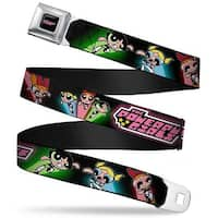 The Powerpuff Girls Black White Pink Full Color The Powerpuff Girls Flying Seatbelt Belt