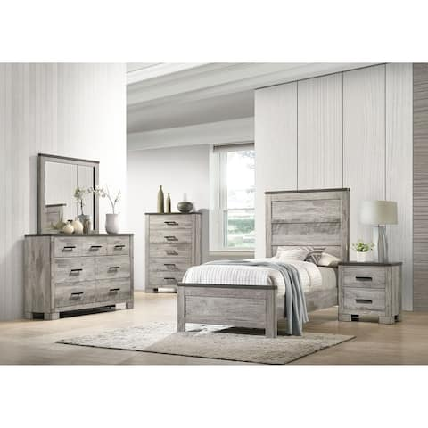 Picket House Furnishings Adam Twin Panel 3PC Bedroom Set in Gray