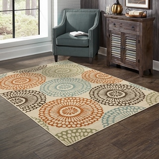 Link to The Curated Nomad Wilson Floral Beige/Blue Indoor-Outdoor Area Rug Similar Items in Rugs