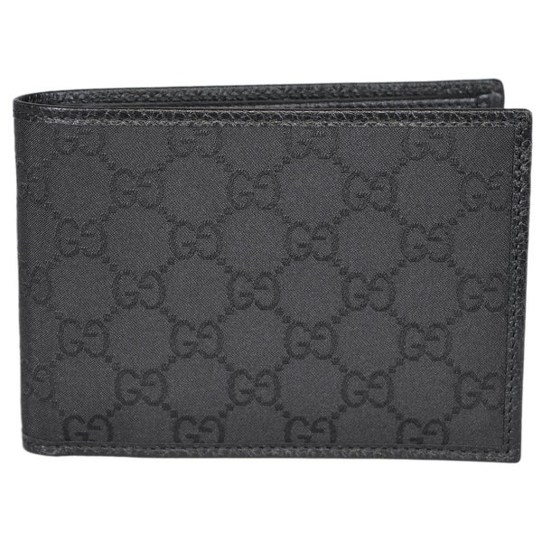 "Gucci Men's 292534 4198 Black Nylon GG Guccissima W/Coin Large Bifold Wallet - 5.25"" x 3.75"""