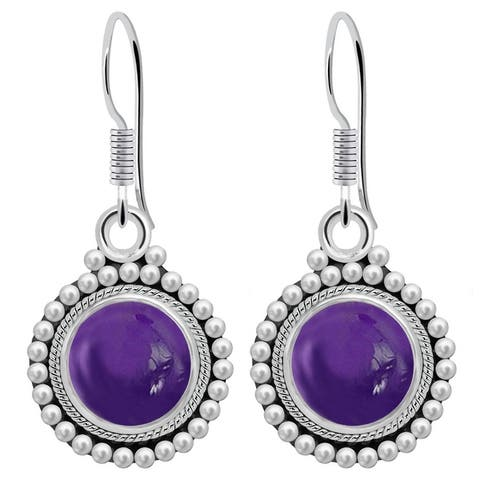 Amethyst,Amazonite,Zoisite Sterling Silver Round Dangle Earrings by Orchid Jewelry