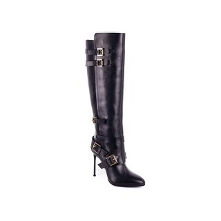 Roberto Cavalli Black Leather Buckled Strap Knee High Heels (2 options available)