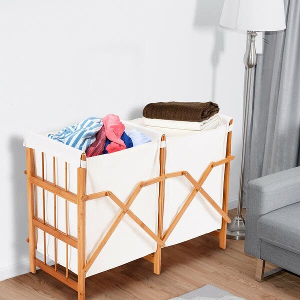 Folding Bamboo Frame Laundry Hamper