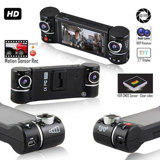 """Indigi Dashboard CAM DVR [ Dual Wide Angle Lens + 2.7"""" LCD + Video Protection ]"""