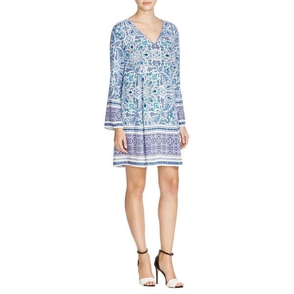 Allen B by Allen Schwartz Womens Babydoll Dress Crepe Paisley Print