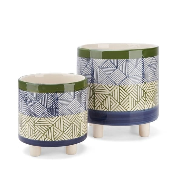"""Set of 2 Blue and Green Basim Footed Geometric Pattern Ceramic Planters 8.5"""" - N/A"""