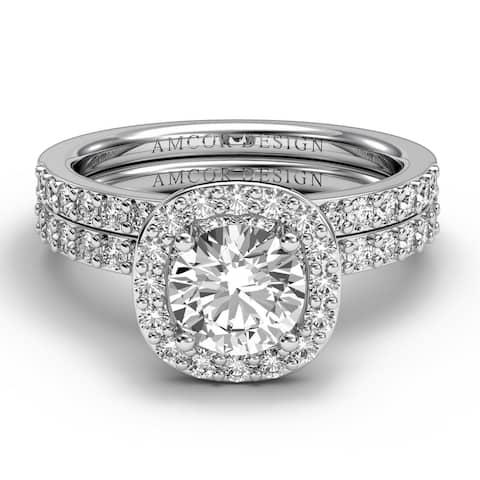 14KT Gold 1.38 CT Halo Diamond Engagement Ring Bridal Set Cushion Wedding Band Amcor Design