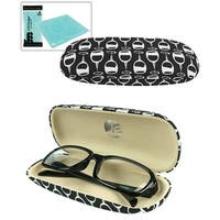 JAVOedge Black/White Wine Glass Pattern Fabric Eyeglass Clam Shell Style Case with Bonus Microfiber Glass Cleaning Cloth