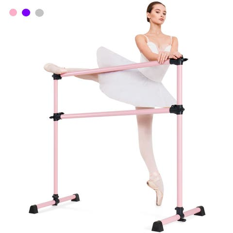 Costway 4ft Portable Double Freestanding Ballet Barre 29'' Base Height