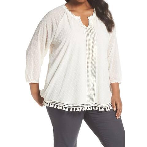 Nic+Zoe White Ivory Womens Size 1X Plus Swiss-Dot Tassel Blouse