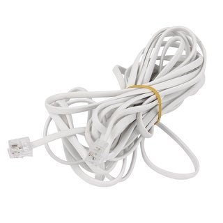 Unique Bargains 4.5M 6P2C RJ11 Male to Male Modular Telephone Phone Cable Cord White