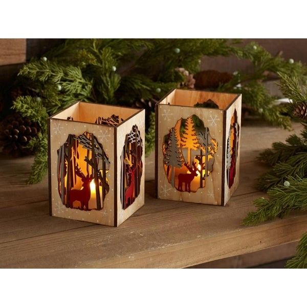 Pack of 6 Decorative Red and Brown Candle Holder with Deer and Tree Cut-out