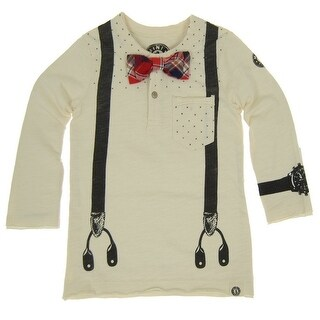 Mini Shatsu Boys Beige Suspender Bowtie Long Sleeve Henley Shirt