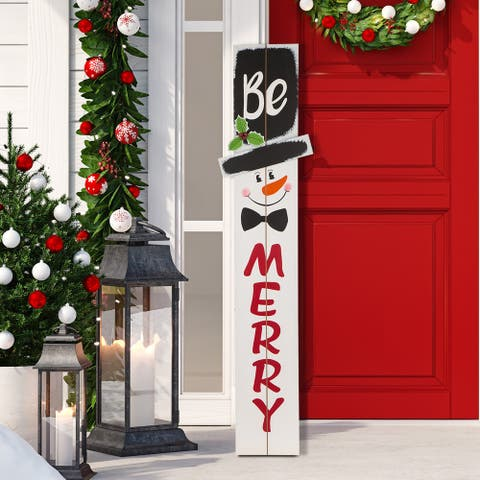 Glitzhome Christmas Wooden 42-inch Porch Sign