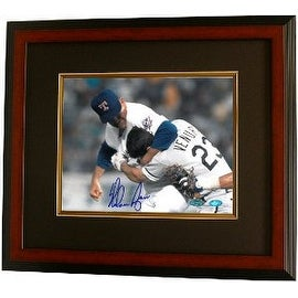 Nolan Ryan signed Texas Rangers Fight 8x10 Photo vs Ventura- Steiner Hologram Custom Framed