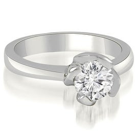 0.75 cttw. 14K White Gold Twisted Prong Solitaire Diamond Engagement Ring