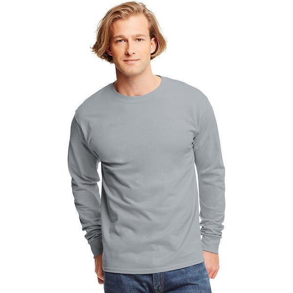48126cfc Shop Hanes TAGLESS® Long-Sleeve T-Shirt - Size - XL - Color - Light Steel -  Free Shipping On Orders Over $45 - Overstock - 13922885