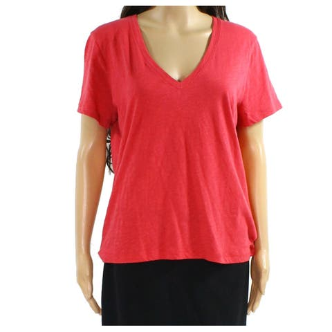 Madewell Pink Womens Size Large L Short Sleeve V-Neck Stretch Top