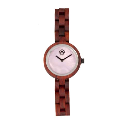 Earth Wood Wisteria Women's Quartz Watch, Mother of Pearl Dial, Wood Band