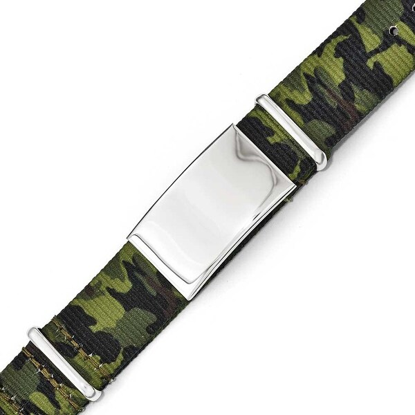 Chisel Stainless Steel Polished Green Camo Fabric Adjustable ID Bracelet