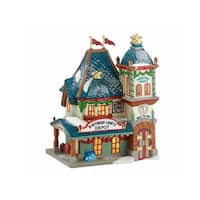 "Department 56 North Pole Series ""Northern Lights Depot"" Lighted Building #4030713 - BLue"