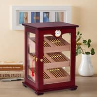 Costway Countertop Display Humidor 150 Cigars Storage Cabinet Humidifier Hygrometer - Cherry