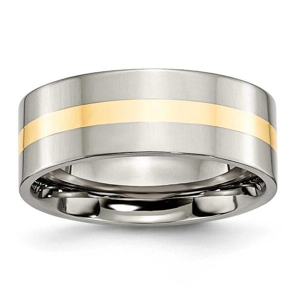 Chisel 14k Gold Inlaid Polished Titanium Ring (8.0 mm) - Sizes 6-13