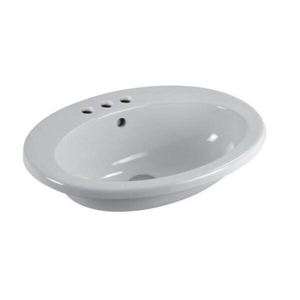 "Nameeks MALISEON GSI 22-2/5"" Ceramic Drop In Bathroom Sink with Overflow - White / Three Hole"