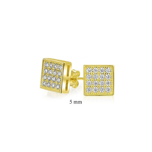 63be96473 Shop Geometric Square Cubic Zirconia Micro Pave CZ Stud Earrings For Men  For Women 14k Gold Plated 925 Sterling Silver 5mm - On Sale - Free Shipping  On ...