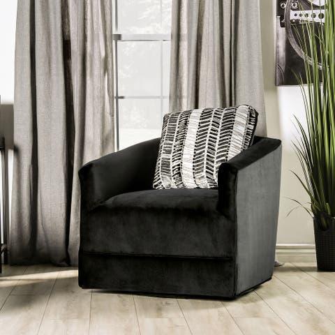 Furniture of America Stabone Transitional Black Fabric Swivel Chair