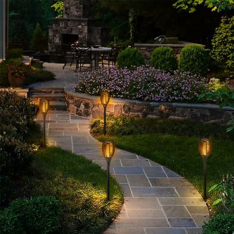 2 Pack Solar Dancing Flame Light, LED Pathway Light, IP65 Waterproof