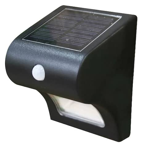 """Classy Caps SL133 5-1/8"""" Wide LED Solar Deck and Wall Light with - Black"""
