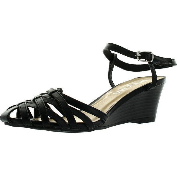 Diviana Nicki-22 Womens Criss Cross Cage Vamp Ankle Strap Wedge Sandals