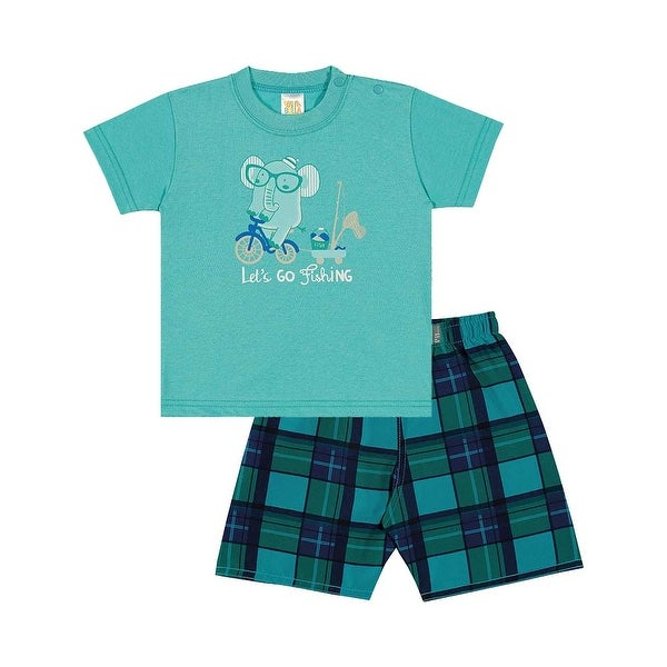Baby Boy Outfit Infant T-Shirt and Plaid Shorts Set Pulla Bulla Sizes 3-12 Month