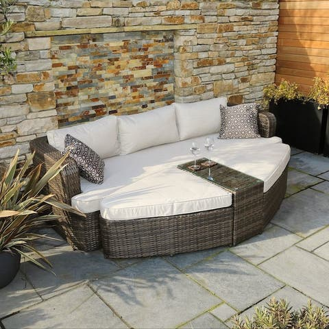 Outdoor 4-Piece Patio Wicker Daybed Sectional Sofa Set by Direct Wicker