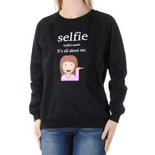 Womens Black Selfie Long Sleeve Crew Neck Casual Top Size S
