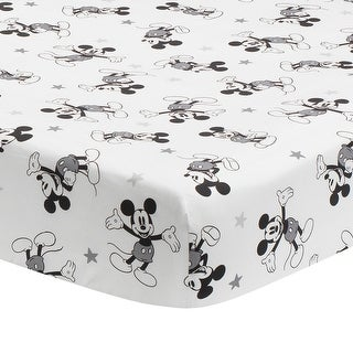 Link to Lambs & Ivy Disney Baby Magical Mickey Mouse 100% Cotton Fitted Crib Sheet - White/Black Similar Items in Baby Blankets