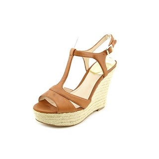 Vince Camuto Inslo 2 Women Open Toe Leather Brown Wedge Sandal
