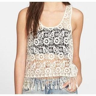 LUSH NEW White Ivory Women's Size Medium M Crochet Fringe Knit Top