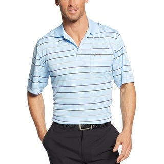 Greg Norman Performance Golf Polo Shirt Blue Belle Multi-Striped Play Dry