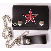 Nautical Red Black Star Trifold Motorcycle Biker Wallet W Chain