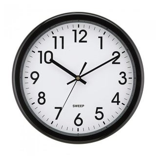 Impecca WCW12M1K 12 in. Quiet Movement Wall Clock - Black