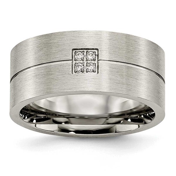 Chisel Stainless Steel Brushed and Polished with CZ Ring (10 mm)