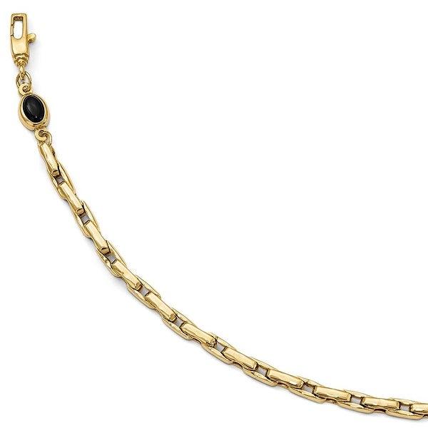 Italian 14k Gold Fancy Bracelet with Onyx - 7.5 inches