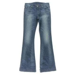 True Religion Womens Charlize Distressed Mid-Rise Flare Jeans - 24