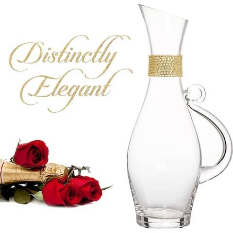 Cheer Collection Elegant Wine Decanter with Dazzling Rhinestone Design