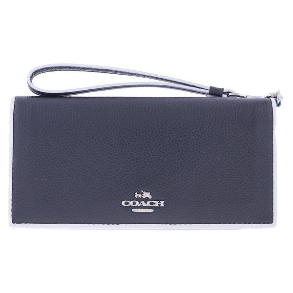 Coach Womens Wristlet Wallet Leather Contrast Trim - o/s