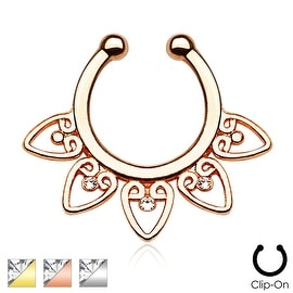 Tribal Fan with Clear Gems Non-Piercing Septum Hanger (Sold Individually)