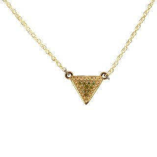 Beautiful Round Brilliant Cut Color Diamond Triangle Shaped Pendant With Chain
